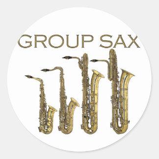 Group Sax Round Sticker
