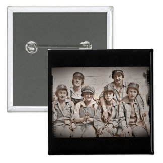 Group Shipyard Workers on Wharf 2 Inch Square Button