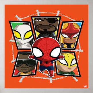 Groupe de héros d'équipe de Spider-Man mini