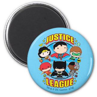 Groupe de ligue de justice de Chibi Magnet Rond 8 Cm