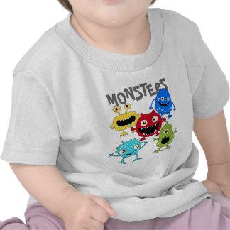 Groupe mignon de T-shirts de nourrisson de monstre