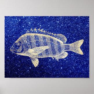 Grouper Fish Sea Ocean Blue Navy Foxier Gold Poster