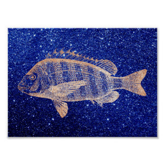 Grouper Fish Sea Ocean Blue Rose Gold Metallic Poster
