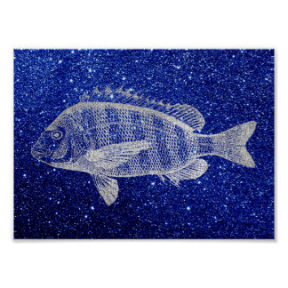 Grouper Fish Sea Ocean Blue Silver Gray Metallic Poster