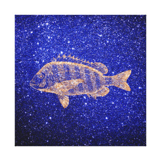 Grouper-fish Sea Ocean Life Pink Rose Gold Copper Canvas Print