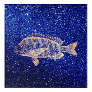 Grouper Fish Sea Ocean Navy Rose Gold Metallic Acrylic Wall Art