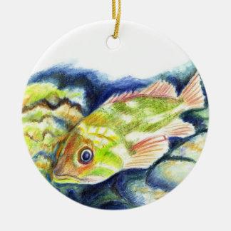 Grouper - Watercolor Pencil Drawing Ceramic Ornament