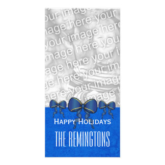 GROUPON Blue Bows Merry Christmas V7 Photo Card