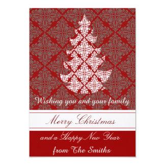 Groupon Classic Damask Christmas Tree Card