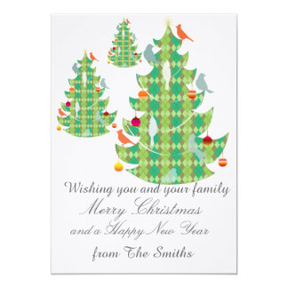 Groupon Plaid Pattern Christmas Tree and Birds Card