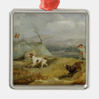 Grouse Shooting (oil on canvas) Silver-Colored Square Ornament