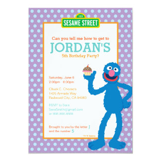 "Grover Birthday 5"" X 7"" Invitation Card"