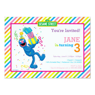 "Grover Striped Birthday 5"" X 7"" Invitation Card"