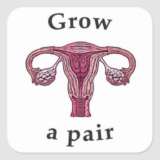 Grow a pair (of ovaries) square sticker