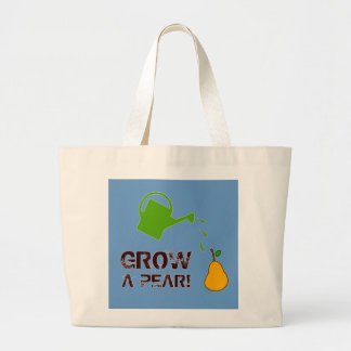 Grow a Pear! funny rebus humor (-more colors) Large Tote Bag