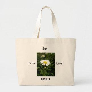 Grow, Eat and Live Green Jumbo Tote Bag