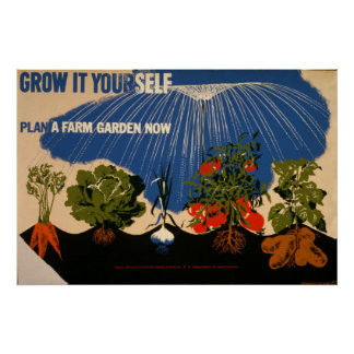 Grow It Yourself Plant A Farm Garden Vintage 1941 Poster