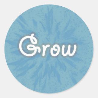 Grow on Blue Pattern Round Sticker