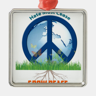 Grow_Peace1.PNG Silver-Colored Square Ornament