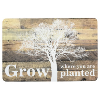 Grow Where You Are Planted Rustic Wood Effect Floor Mat