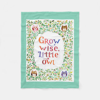 Grow wise little owl watercolor art fleece blanket
