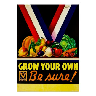 Grow Your Own - Be Sure! Vintage World War II Poster