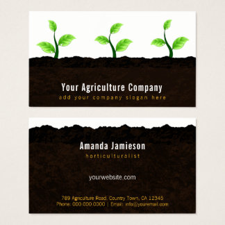 Growing Seedlings in Soil Agriculture Horticulture Business Card