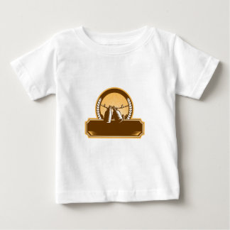 Growler Clothesline Picket Fence Circle Woodcut Baby T-Shirt