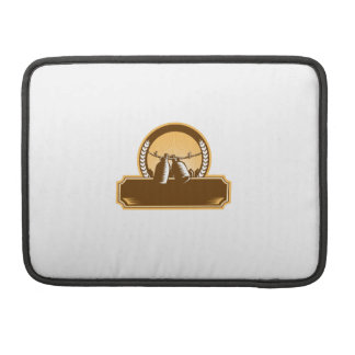 Growler Clothesline Picket Fence Circle Woodcut Sleeves For MacBook Pro