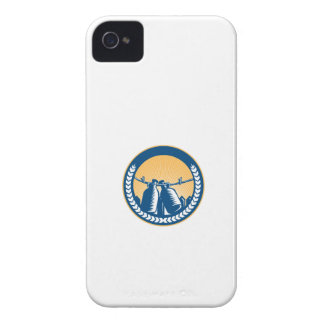 Growler Hanging Clothesline Fence Circle Woodcut Case-Mate iPhone 4 Cases