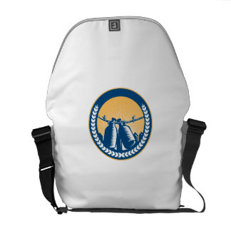 Growler Hanging Clothesline Fence Circle Woodcut Courier Bags