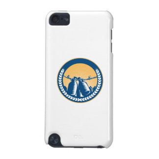 Growler Hanging Clothesline Fence Circle Woodcut iPod Touch (5th Generation) Case