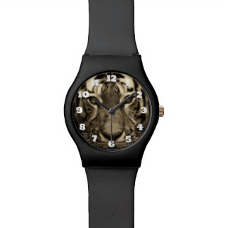 Growling Tiger Face in Sepia Tones Wristwatch