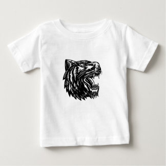 Growling Tiger Woodcut Black and White Baby T-Shirt