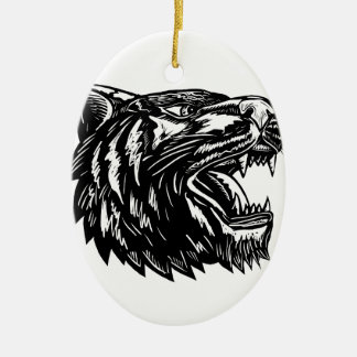 Growling Tiger Woodcut Black and White Ceramic Ornament
