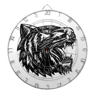 Growling Tiger Woodcut Black and White Dartboard
