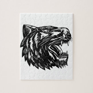 Growling Tiger Woodcut Black and White Jigsaw Puzzle