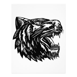 Growling Tiger Woodcut Black and White Letterhead