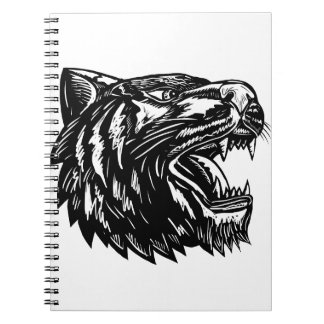 Growling Tiger Woodcut Black and White Notebook