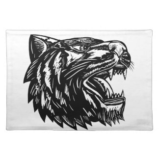Growling Tiger Woodcut Black and White Placemat