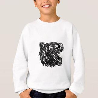 Growling Tiger Woodcut Black and White Sweatshirt