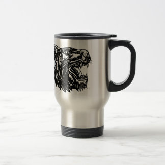 Growling Tiger Woodcut Black and White Travel Mug