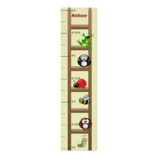 Growth Chart Animals on a Ladder Poster