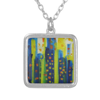 growth patterns silver plated necklace