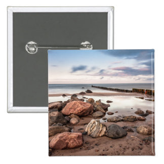 Groyne and stones on the Baltic Sea coast 2 Inch Square Button