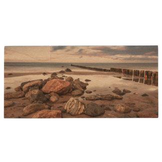 Groyne and stones on the Baltic Sea coast Wood USB 2.0 Flash Drive