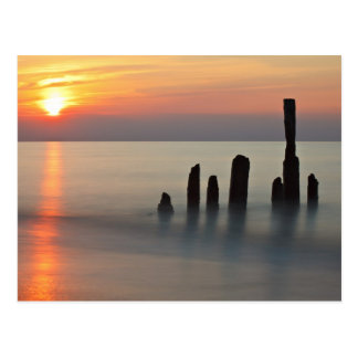 Groynes and sunset on the Baltic Sea coast Postcard