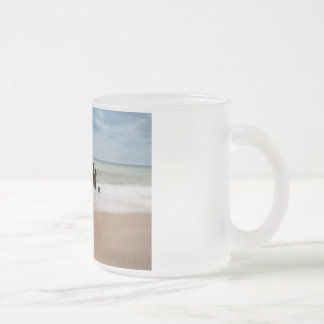 Groynes on shore of the Baltic Sea Frosted Glass Coffee Mug