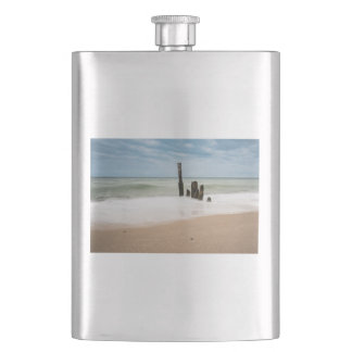 Groynes on shore of the Baltic Sea Hip Flask