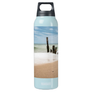 Groynes on shore of the Baltic Sea Insulated Water Bottle